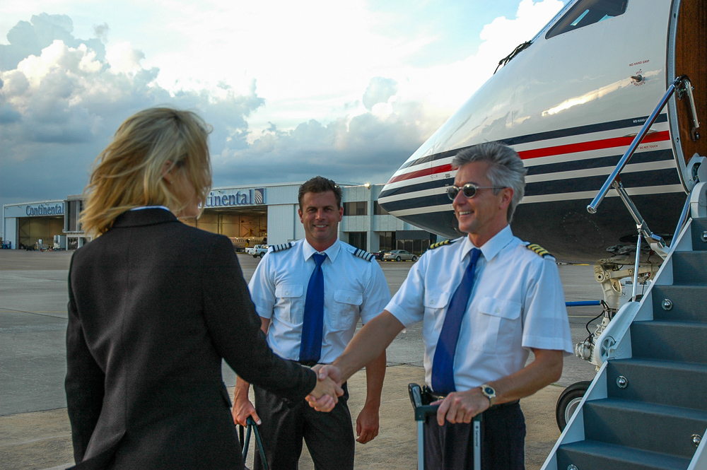 Fake Pilots Shaking Hands With Someone