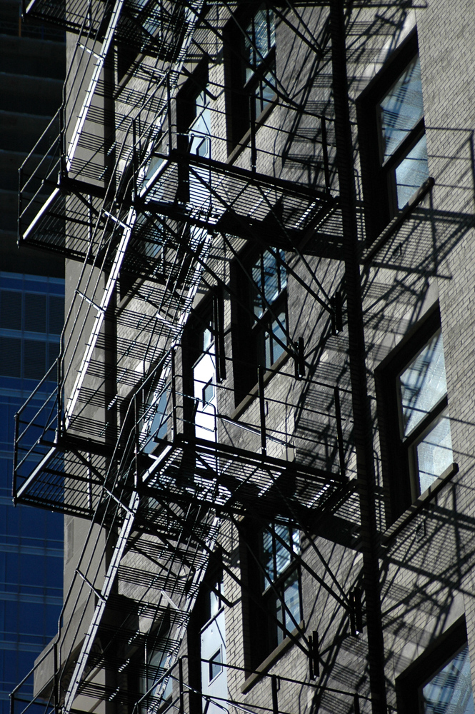 Fire Escapes Shadows Chicago
