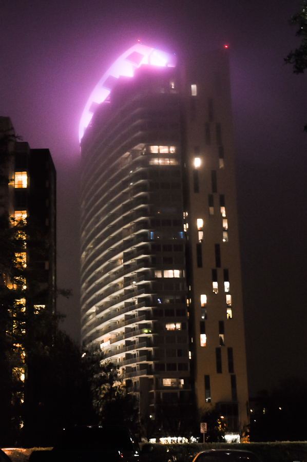 Austin, Texas Violet Tower In Fog, Urban Strange, Blade Runner