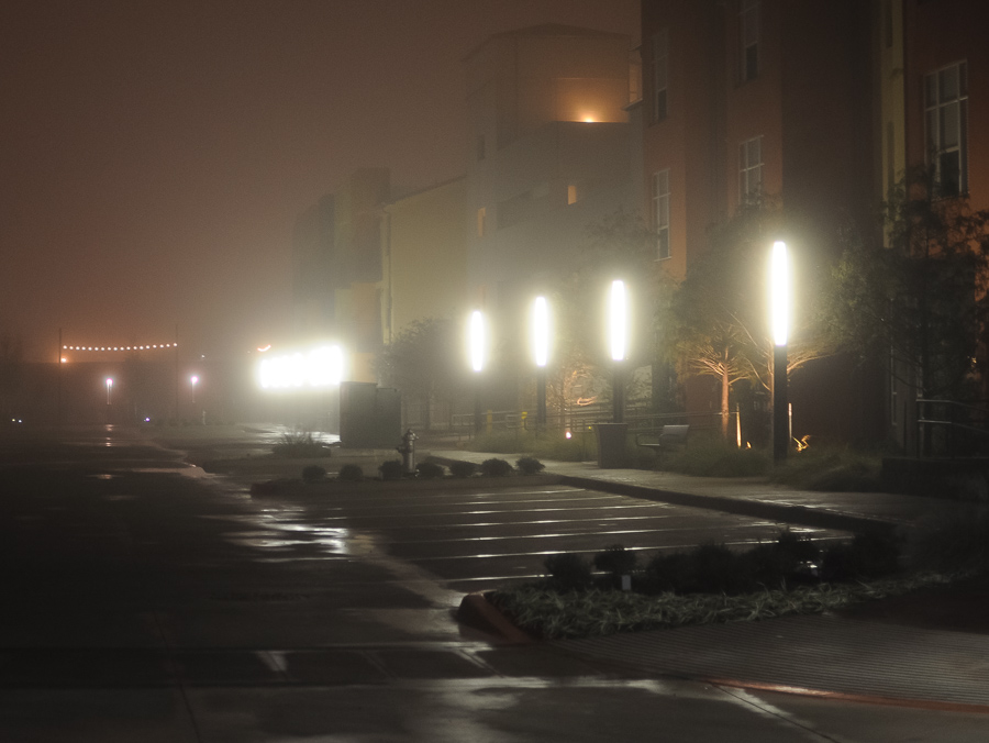 Urban Fog Lights Night Lonely