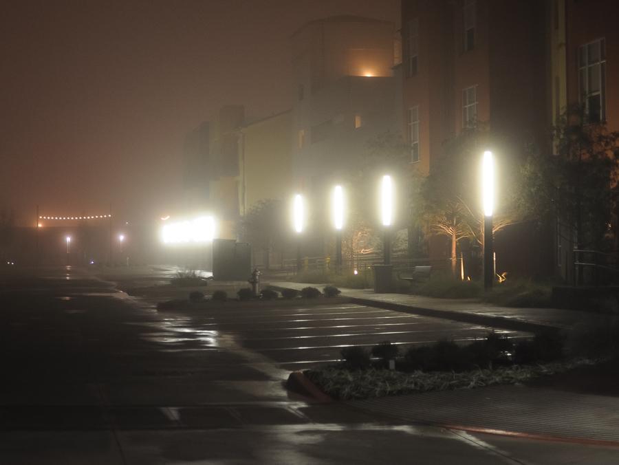 Urban Fog Lights Night Lonely