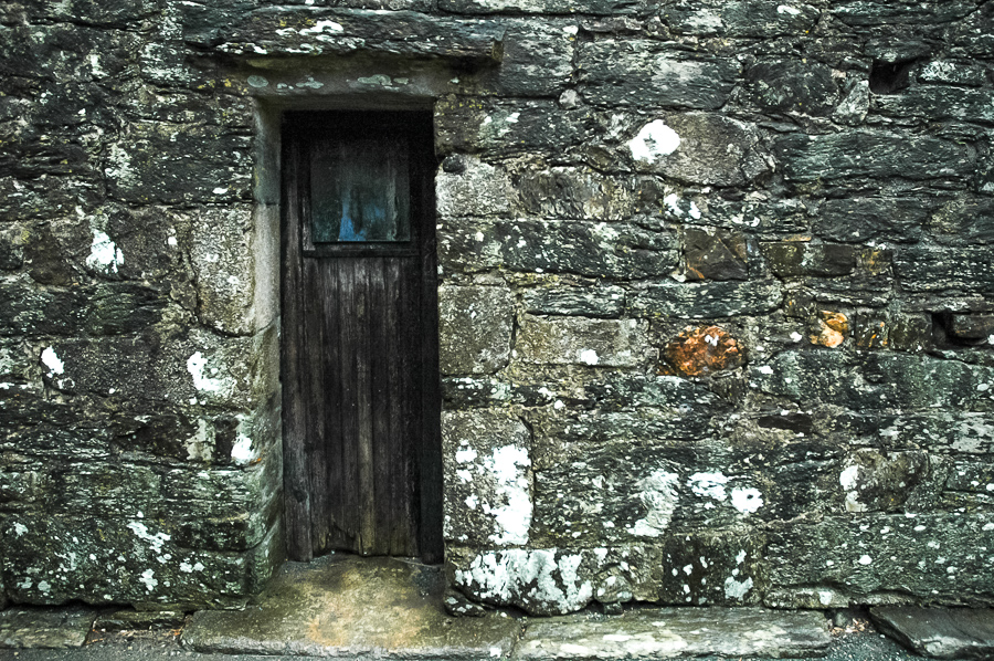 Glendalough, Ireland Stone With Wood Door