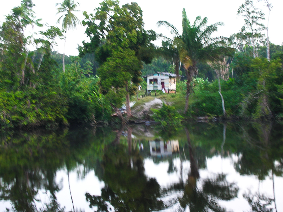Guyana, Settlement on the River deep in the jungle