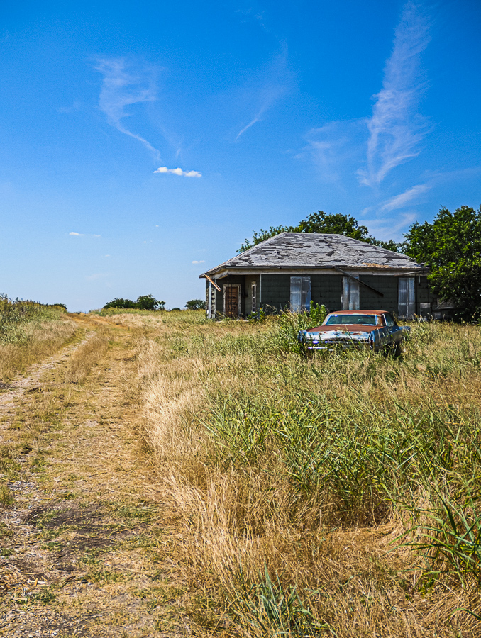 Abandoned Building - Field, House, Posted Keep Out, Rusted Car
