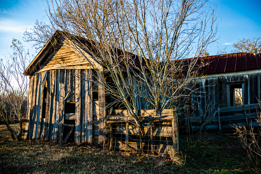 Abandoned Building - Barn Reflecting Sunset