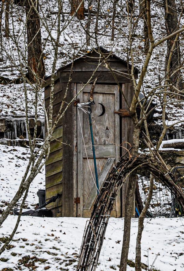 Roadside Relics - Outhouse Moon Door Snow Eureka Springs Arkansas