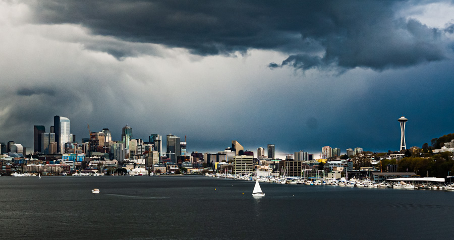 Seattle, Bay, Space Needle, Brooding Clouds, City Scape