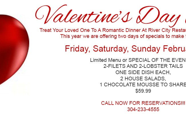 Valentine S Day Specials River City Restaurant Banquets