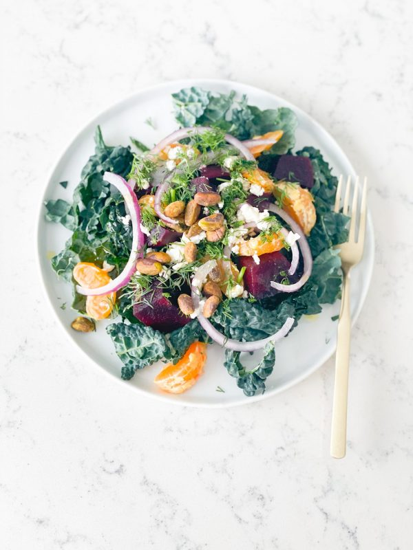 Delicious Beet and Kale salad with pistachio