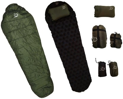 Sleeping Bag, Sleeping Pad, Pillow, combo pack