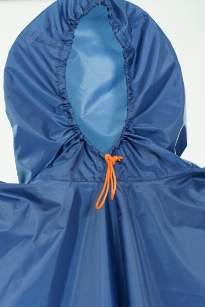 blue backpacking poncho hood