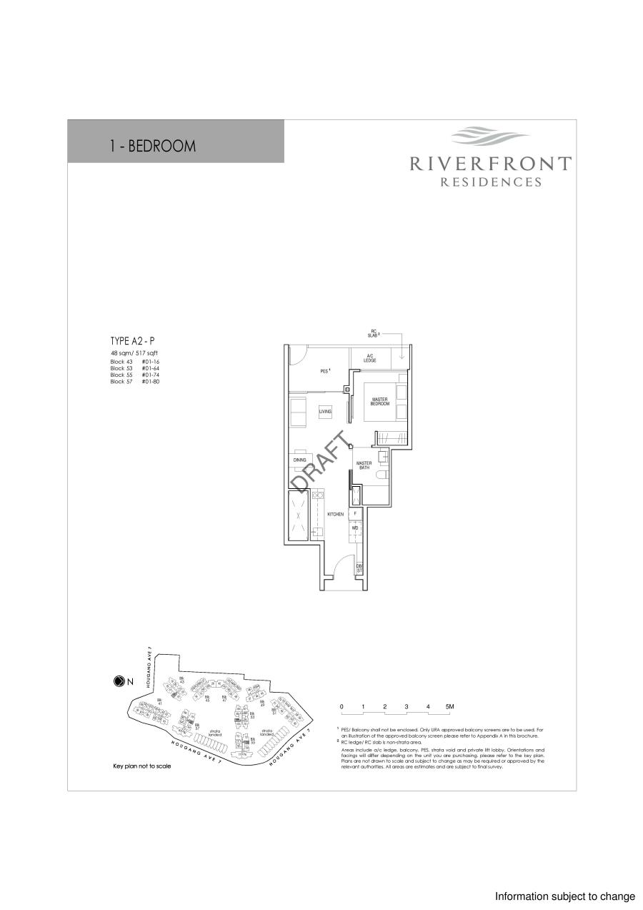 Riverfront Residences 1 Bedroom Floor Plans Type A2-P
