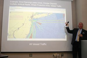 Tony McDonald, director of Urban Coast Institute at Monmouth University, took the audience on a tour of the new Mid-Atlantic Ocean Data Portal