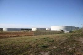 Petroleum storage tanks at the United Riverhead Facility this morning. (Photo: Peter Blasl)