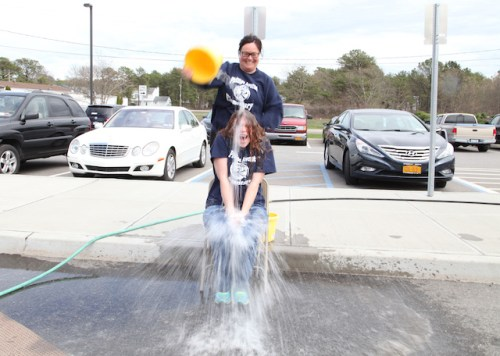 Phillips Avenue Elementary School teachers took the Ice Bucket Challenge at the school today during the annual Ride for Life. Photo: Sandra Kolbo.