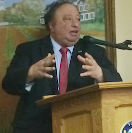 United Riverhead Terminal owner John Catsimatidis appeared at a May town board meeting to comment on proposed weight limits on town roads. Photo: Katie Blasl