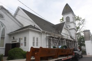 The church pews were removed for off-site storage June 8. Photo: Peter Blasl
