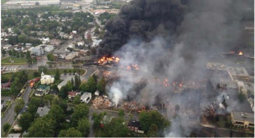 Aerial view of accident site in Lac-Mégantic, Quebec where a tanker train derailment killed 47 people in July 2013. Photo: N.Y. Crude Oil Report, April 2014