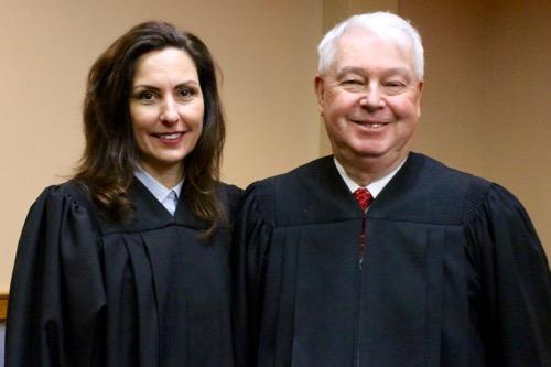 Riverhead justices Lori Hulse and Allen Smith. Photo: Denise Civiletti