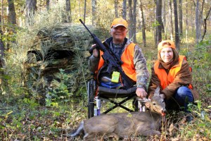 Kelly Barfoot, of Campbell, and his wife, April Barfoot, are pictured with Kelly's harvest from the mobility impaired managed hunt at Wappapello.