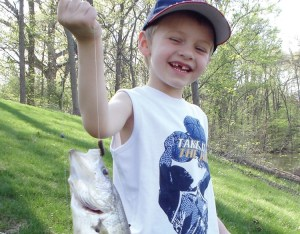 Young angler Ayden Dietrich found this huge crappie in a small pond of about one-acre.