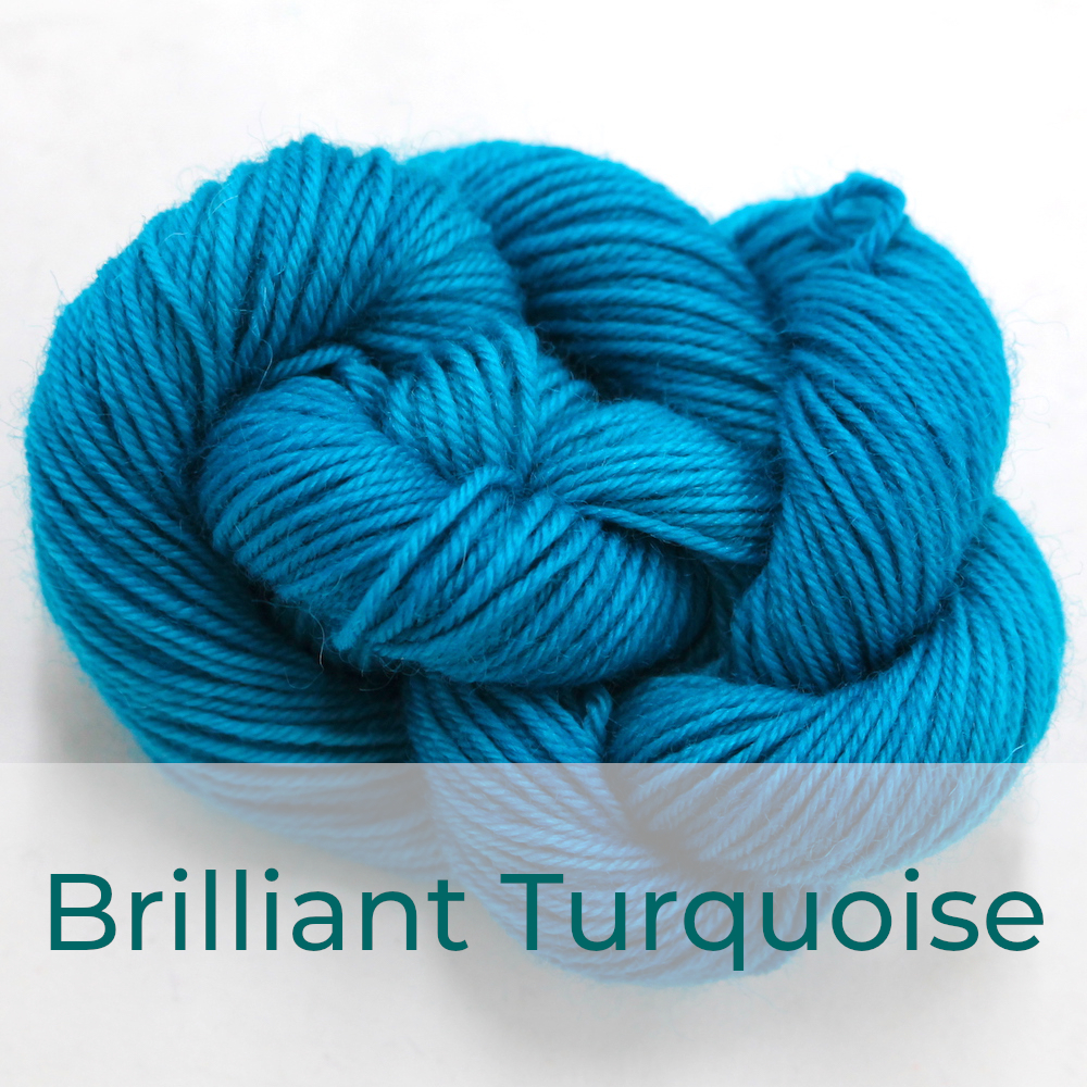 BFL 4 Ply mini skein in Brilliant Turquoise colourway. It is bright turquoise blue.