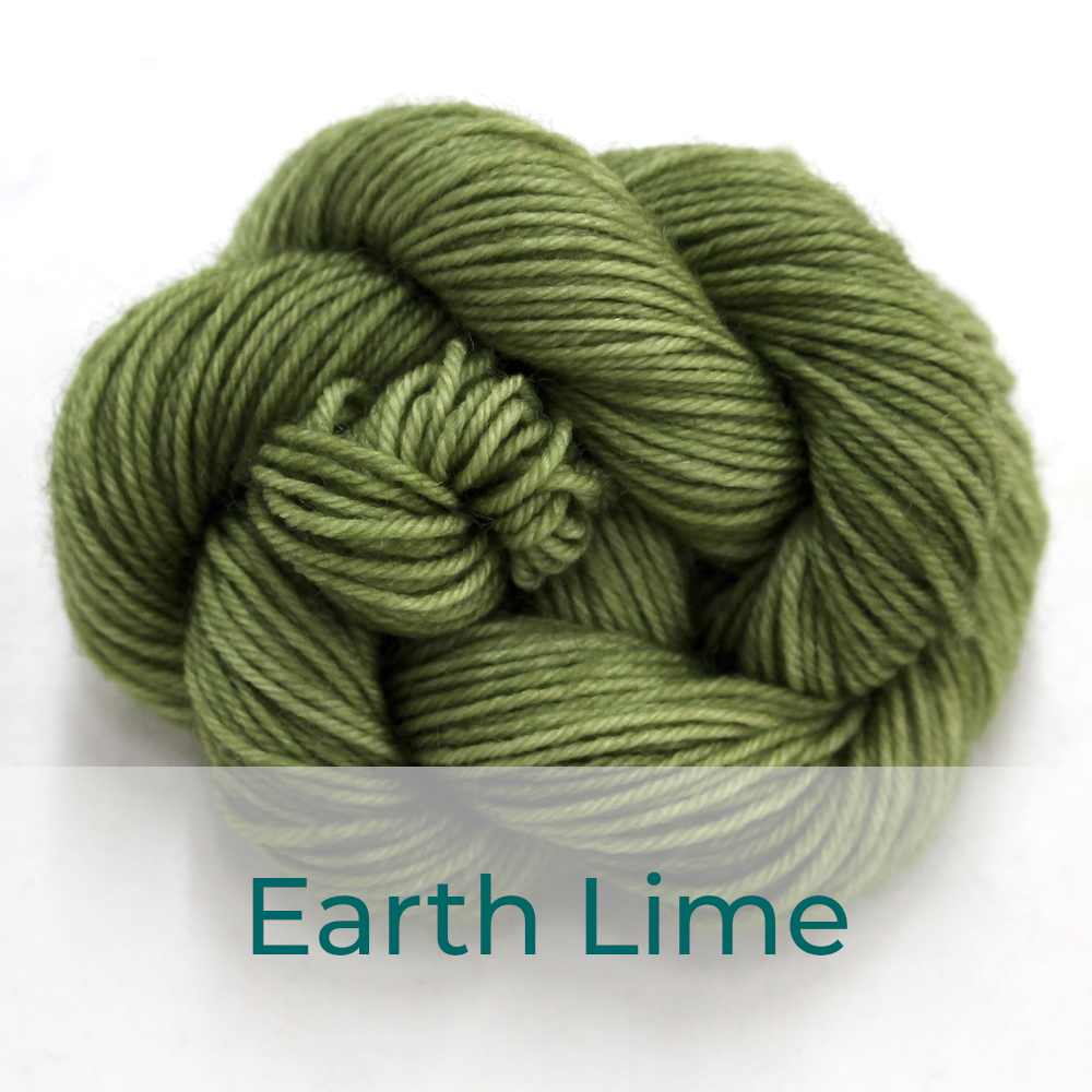 BFL 4 Ply mini skein in the Earth Lime colourway. It is soft khaki green.