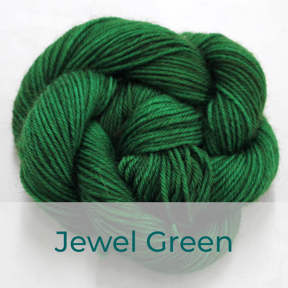 BFL 4 Ply mini skein in the Jewel Green colourway. It is a rich leafy green.