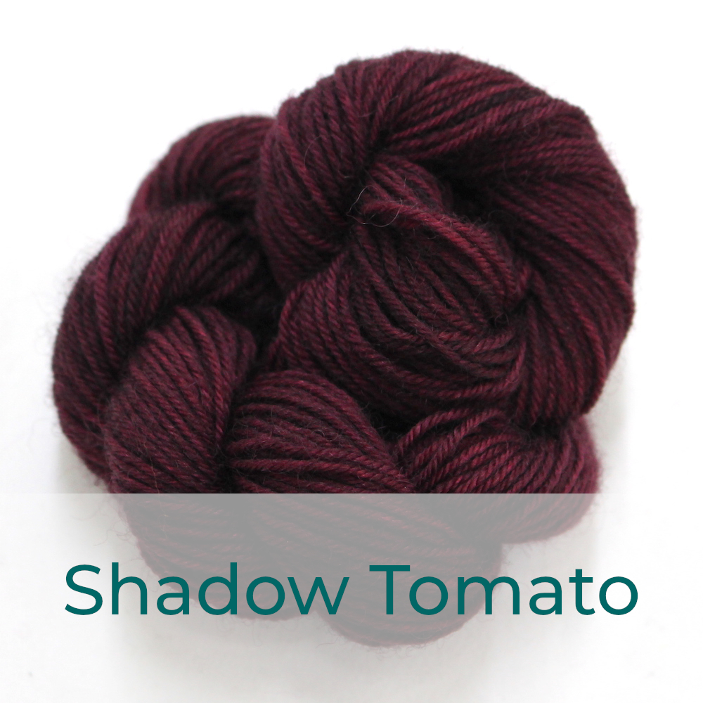BFL 4 Ply mini skein in Shadow Tomato colourway. It is dark red.