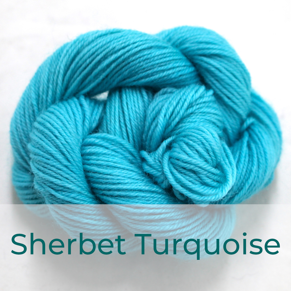 BFL 4 Ply mini skein in the Sherbet Turquoise colourway. It is light bright turquoise.