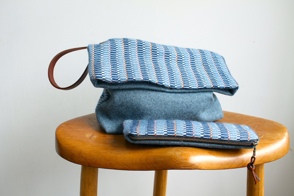 Handwoven bag and case in the Ocean colourway
