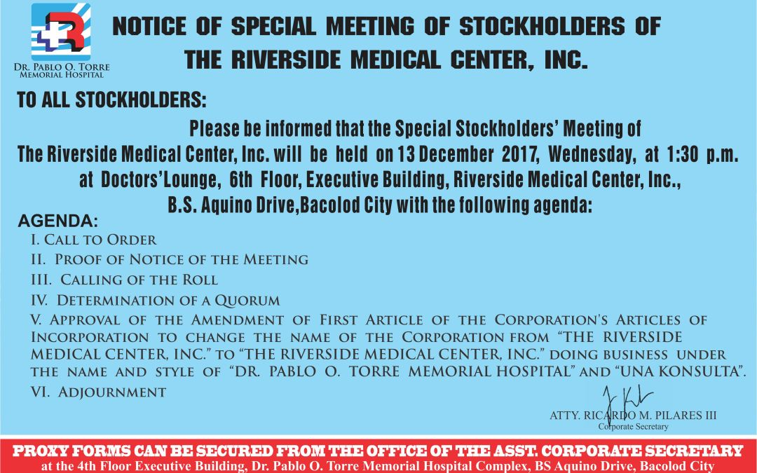 NOTICE: SPECIAL MEETING OF RMCI's STOCKHOLDERS