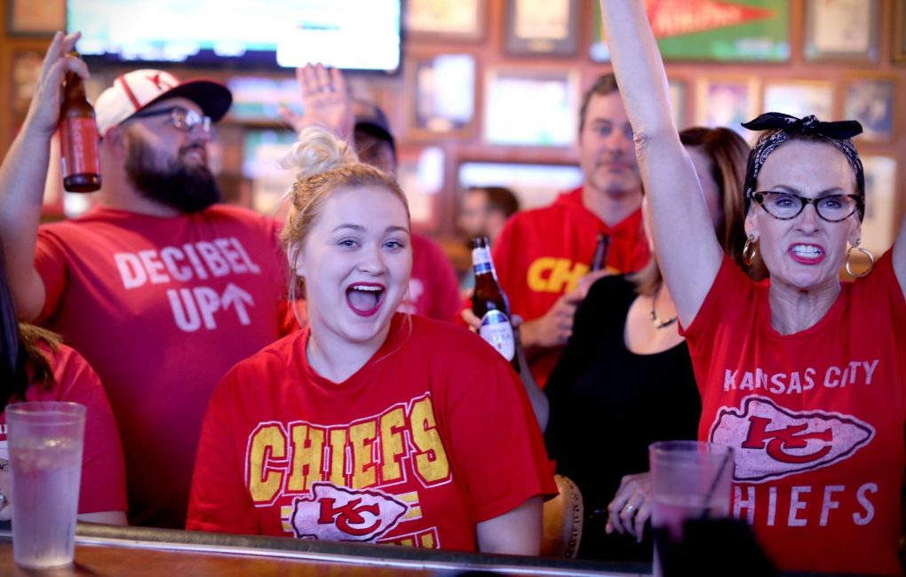 Fans cheer on the Chiefs at Chappell's Restaurant and Sports Museum, a sports bar in Kansas City