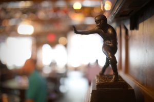 Heismann Trophy on display at Chappell's, a sports bar and museum in North Kansas City