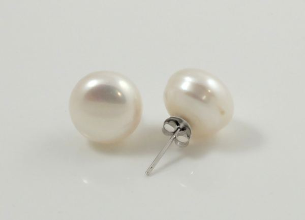 13mm white pearl studs