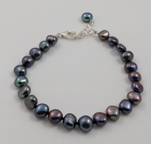 Black Baroque Pearl Bracelet & SS Clasp