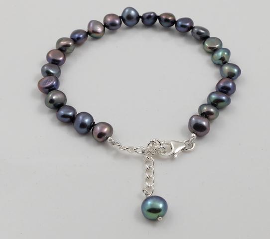 Black Baroque Pearl Bracelet & sterling silver clasp