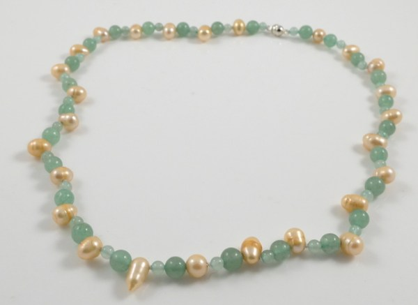 Gold Pearl & Jade Necklace