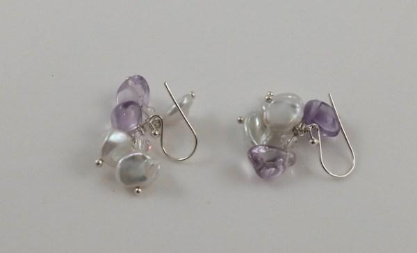 Keshi pearl & Amethyst earrings