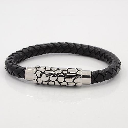 Chunky braided leather & snakeskin clasp