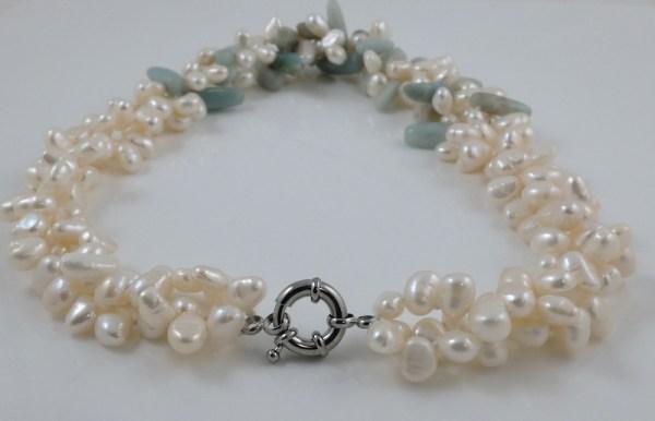 White Pearl Amazonite Necklace
