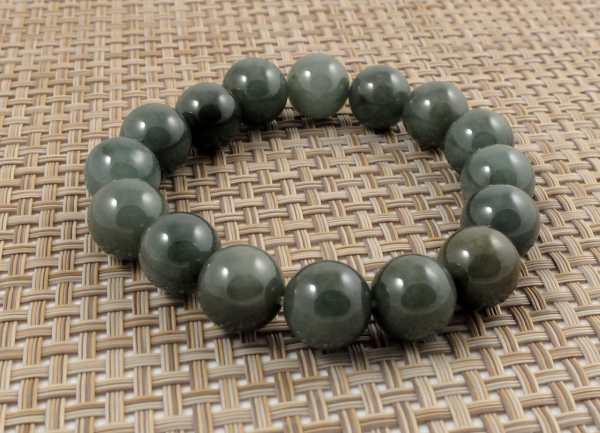 Deep Green Burmese Jade Elastic Bracelet