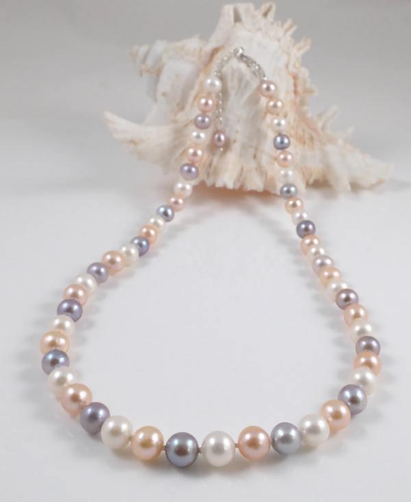Multi-colour round pearl necklace(8mm)-1