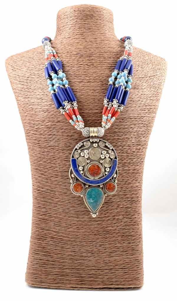 Multi-strand Lapis & Coral Tibetan Necklace (TN38)