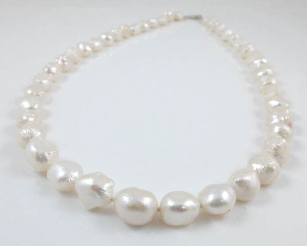 White Hedgehog Freshwater Pearl Necklace 22.5''