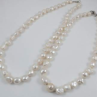 White Hedgehog Freshwater Pearl Necklace & sterling silver clasp
