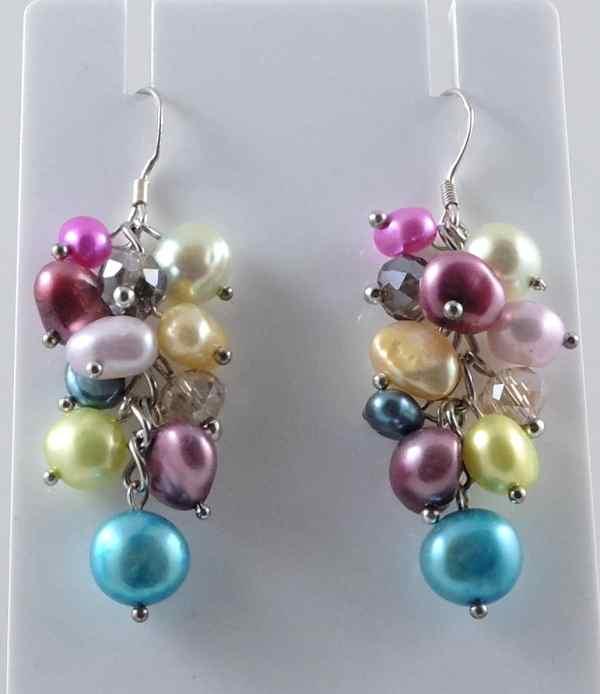 Multi-colour baroque pearl earrings