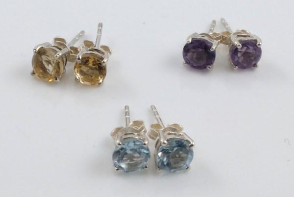 (6mm)4 Claws Gemstone Studs 6mm