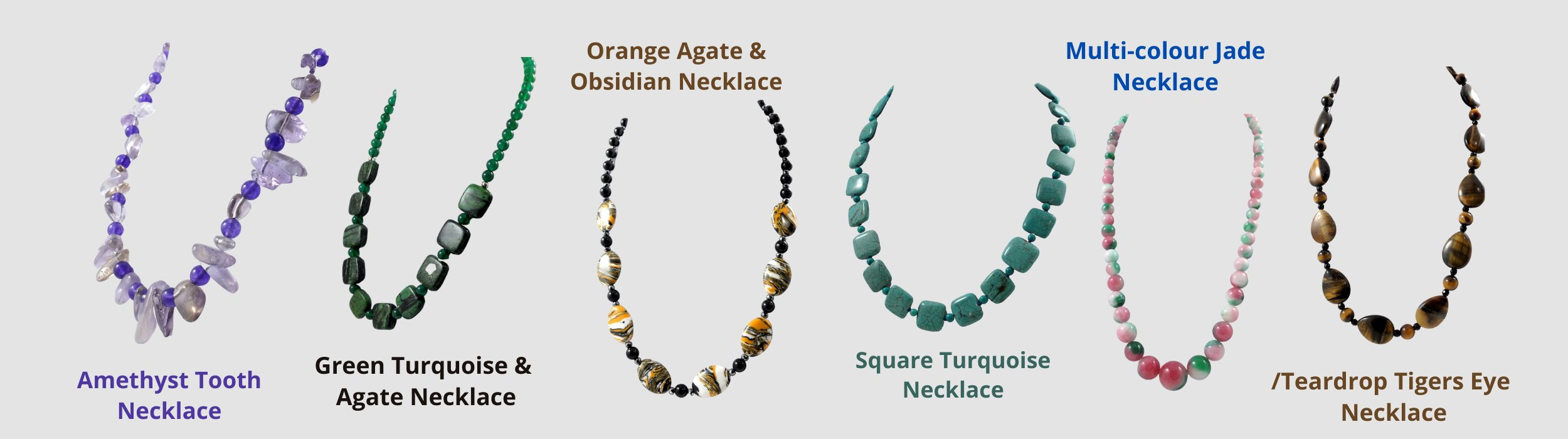 Medium size gemstone necklaces