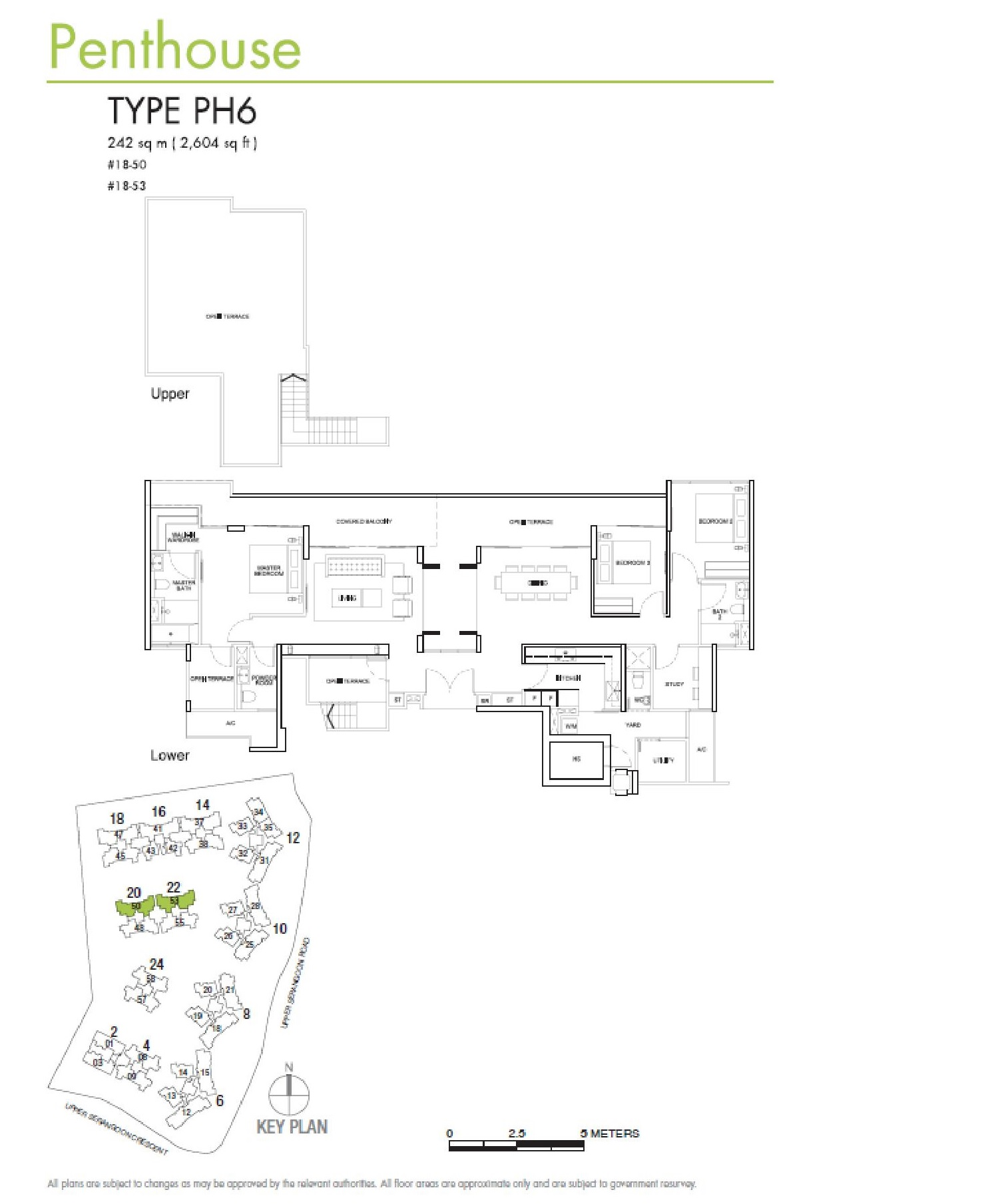 RiverSails 3 Bedroom + Study Penthouse Type PH6 Floor Plans